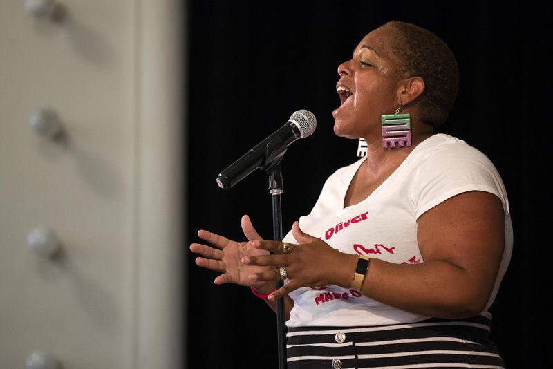 Adra Boo performs during mayoral candidate Nikkita Oliver's election night event on Tuesday at Washington Hall.