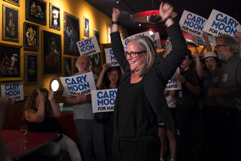 Cary Moon celebrates her number 2 spot for the Seattle mayoral race on primary night. Moon had 15.6 percent of the first batch of returns. Jenny Durkan led the race on Tuesday, with 31.6 percent of initial returns.