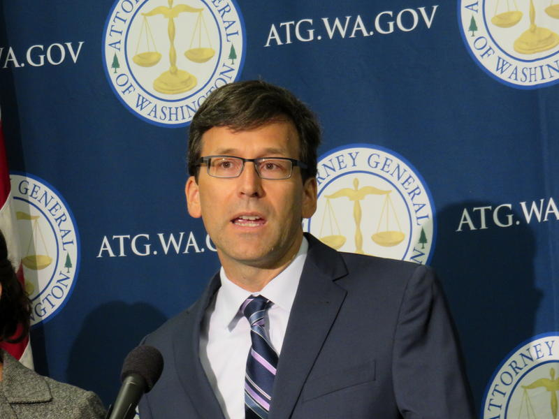 Washington State Attorney General Bob Ferguson spoke at a press conference in Tacoma Tuesday.