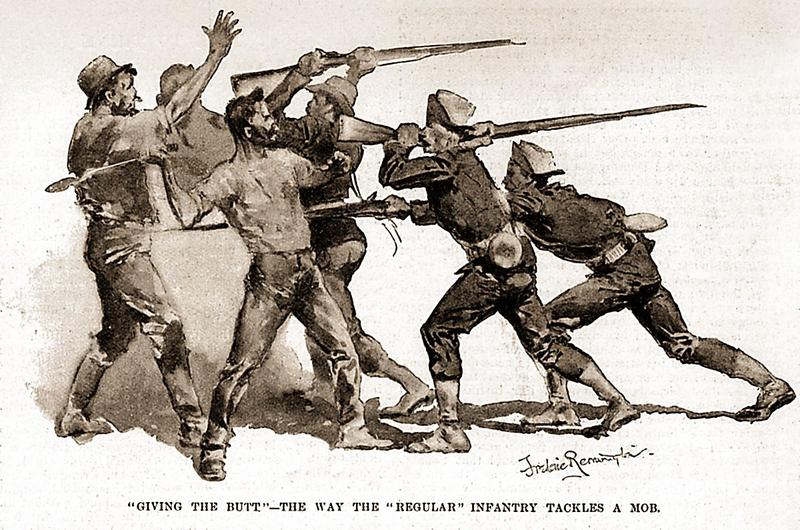 Violence erupted on July 7, 1894, with hundreds of boxcars and coal cars looted and burned. State and federal troops used force to quell the mob, as this study by Frederic Remington illustrates.