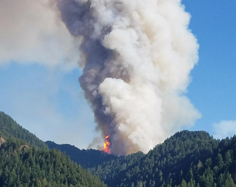 The Eagle Creek wildfire burns in the Columbia River Gorge east of Portland, Oregon. Crews continue to battle the growing Eagle Creek wildfire that has also caused evacuations and sparked blazes across the Columbia River in Washington state.
