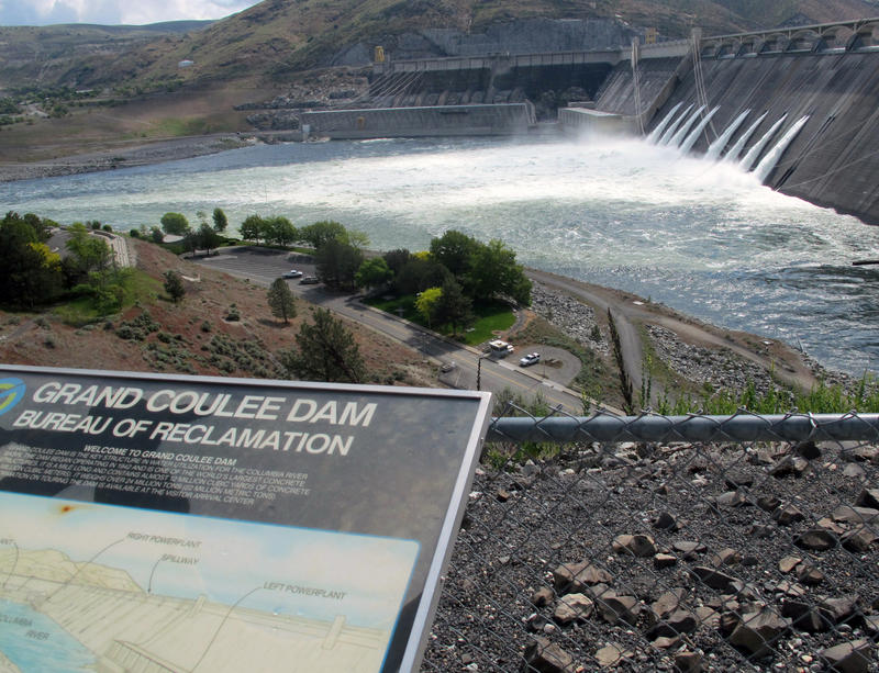 Water is released through he outlet tubes at Grand Coulee Dam, Wash.