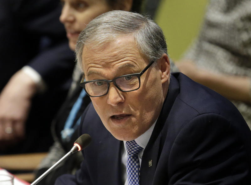 Washington governor Jay Inslee speaks during a meeting about climate change and sustainable development.