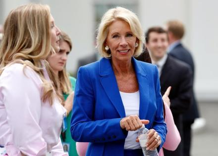 Education Secretary Betsy DeVos is seen between interviews at the White House in Washington, Tuesday, July 25, 2017.