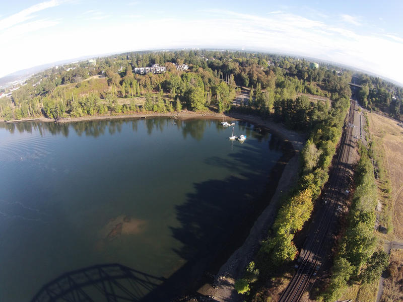 A cove along the Willamette river, in the Portland Harbor Superfund site.