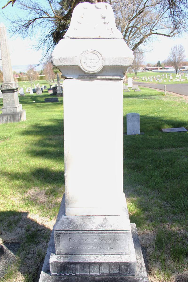 The blank side of the Wheeler tombstone where Logan's name might have rested if not killed during the war.
