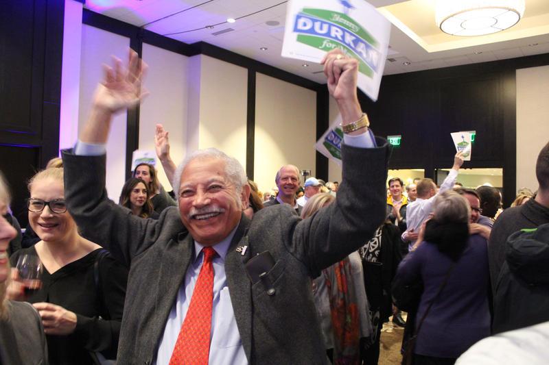 Lem Howell celebrates Durkan victory.