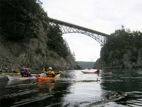 Kayakers near the Deception Pass Bridge.