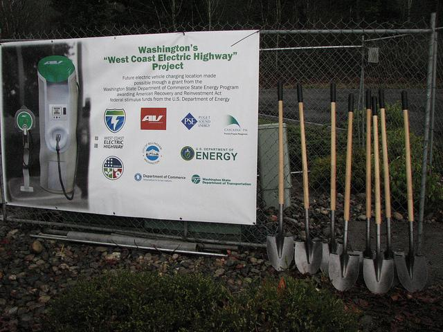 A banner describing the electric highway project during the groudbreaking ceremony on December 28, 2011 in Bellingham.