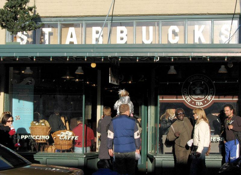The Starbucks store at Pike Place Market, Seattle, Washington.  The company is being boycotted by an anti-gay group.