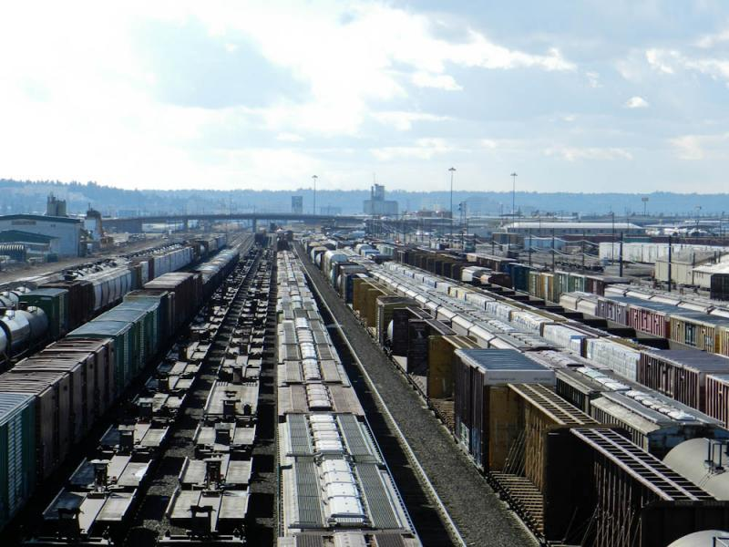Trains line up at the rail yard in Spokane, WA. More than 100 million tons of coal could pass through this rail yard if new export terminals are approved on the Northwest coast.