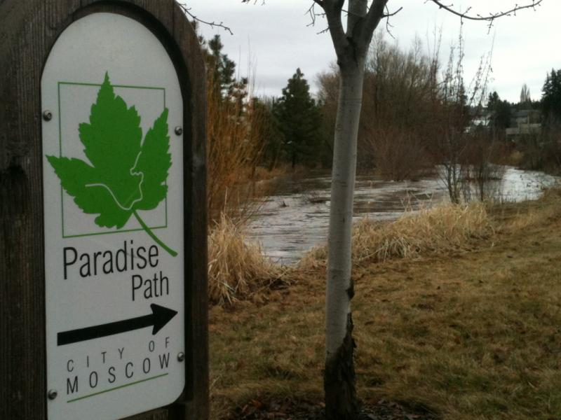 Paradise Creek at Railraod Avenue, near the University of Idaho, in Moscow on Monday.