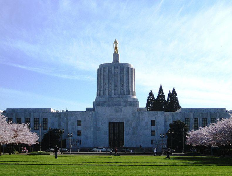 "Oregon State Capitol - despite ""surprising"" job losses, the employment picture is slowly improving."