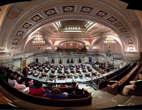 The Washington Senate chamber and public gallery.