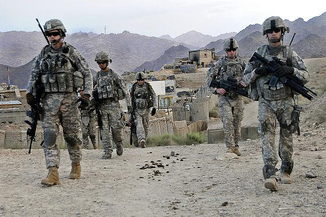 U.S. Soldiers depart Forward Operating Base Baylough, Afghanistan, June 16, 2010, to conduct a patrol. The Soldiers are from 1st Platoon, Delta Company, 1st Battalion, 4th Infantry Regiment.