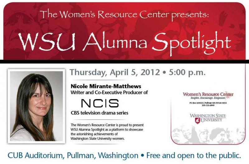Nicole- Mirante Matthews, the co-executive producer of CBS television's NCIS spoke at Washington State University in Pullman.