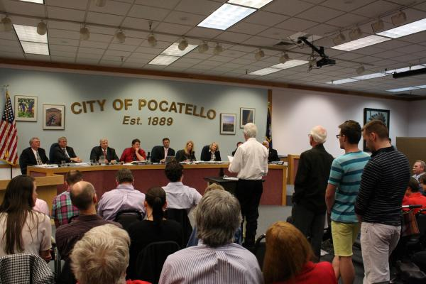 The Pocatello City Council hears testimony on a proposed ordinance that would ban discrimination based on sexual orientation and gender identity.