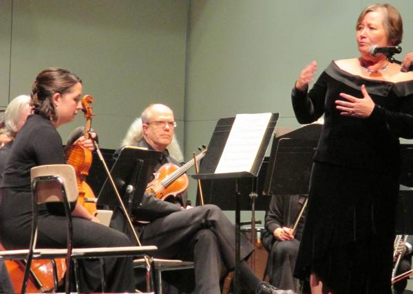 Robin Rilette introducing the November 2nd performance of the Port Angeles Symphony