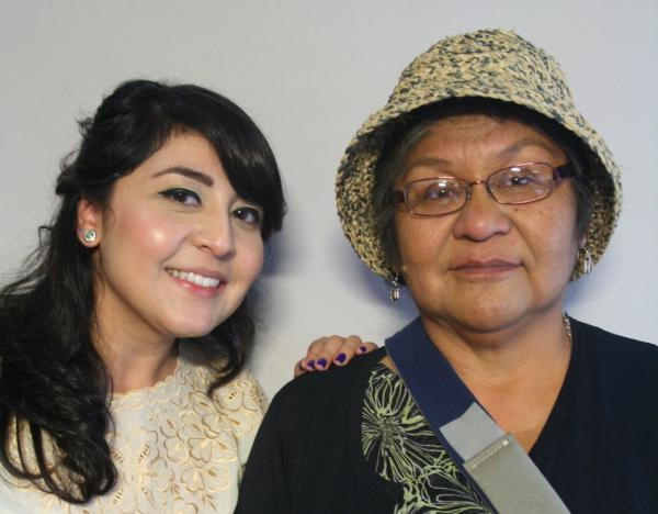 Jennie Honanie (R) tells Faciliator Mayra Sierra (L) about her teaching career and the two most important things in her life: her family and her language.