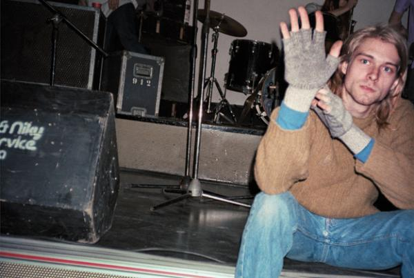 Kurt Cobain was the first person Jonathan Poneman and Bruce Pavitt encountered at the Piper Club, Rome, 11/27/89.