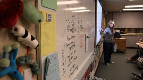 Toys adorn the tackboard walls of Billie Lane's portable classroom at Puyallup's Kalles Junior High, where she's taught for 16 years.