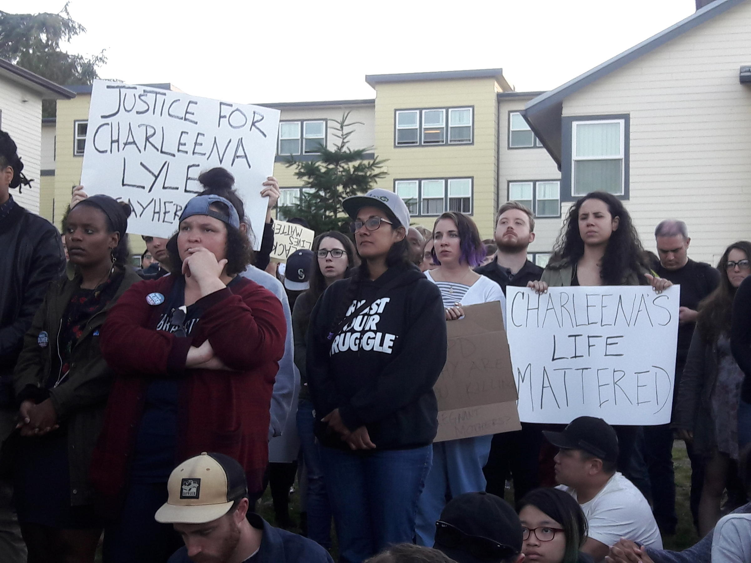 Dozens gathered for a vigil held for a woman shot by Seattle Police
