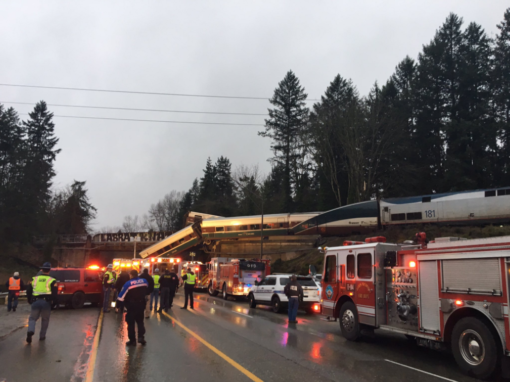 An Amtrak train derailed near Dupont, WA on Monday, December 18, 2017