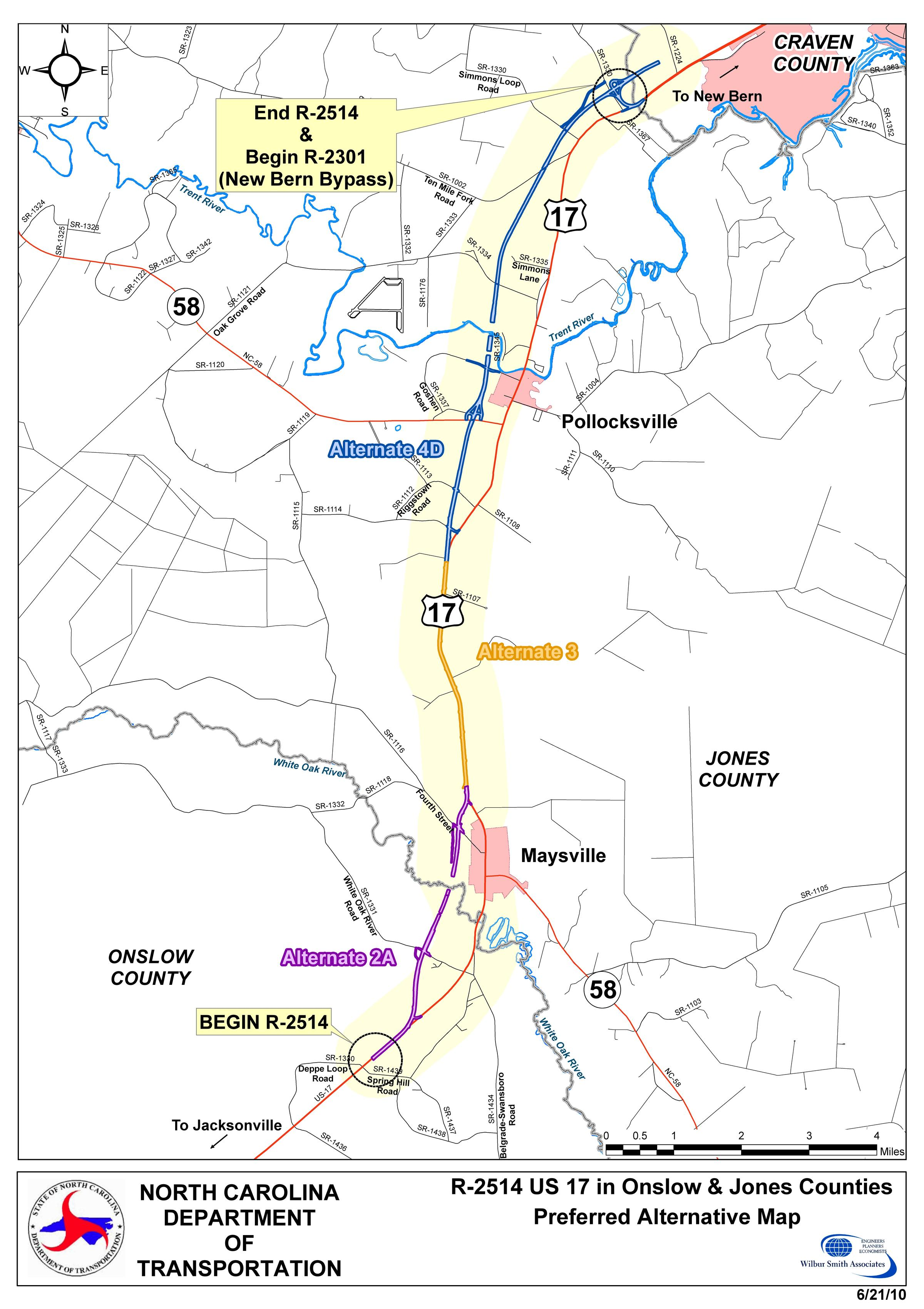 Bypass Project In Jones County Starts In Public Radio East - Us 17 map