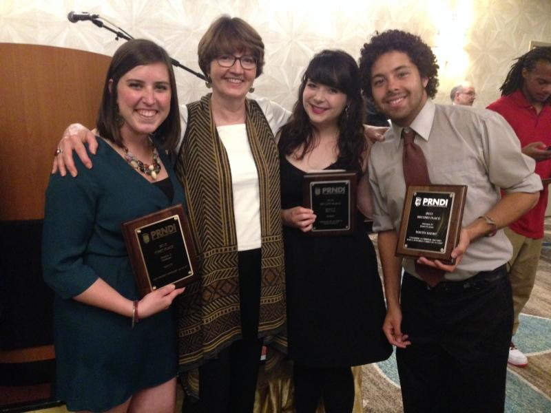 The PRNDI14 Press Corps and Scholarship Winners Ann Pierret, Kayla Reed, and Sayre Quevedo, with their editor Erin Hennessey.