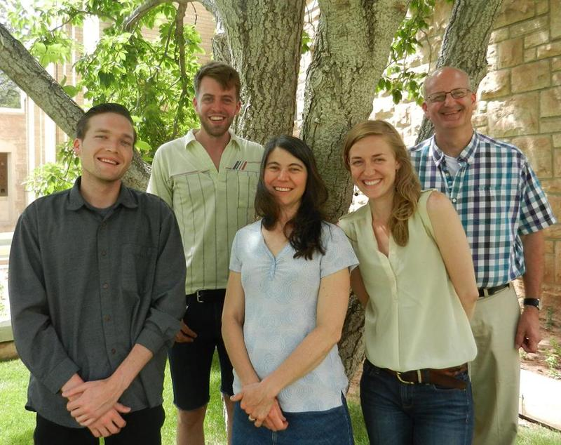 Wyoming Public Radio's new hires: Aaron Schrank, Miles Bryan, Melodie Starr Edwards, Stephanie May Joyce, with their boss, Bob Beck.