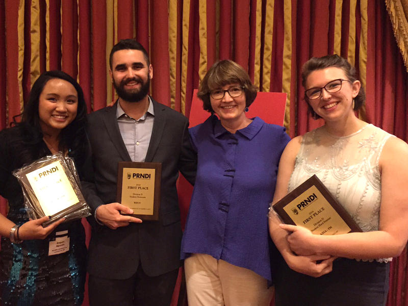 Student winners Angela Nguyen, Jeff Coltin, and Abigail Keel, who also reported on the conference, with PRNDI Press Corps Editor and KPLU News Director Erin Hennessey.