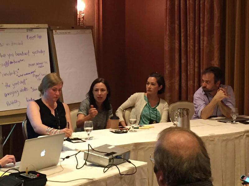 "Panelists Phoebe Judge, Manoush Zomorodi, Sara Sarasohn, and Robert Smith on ""Podcastification""."