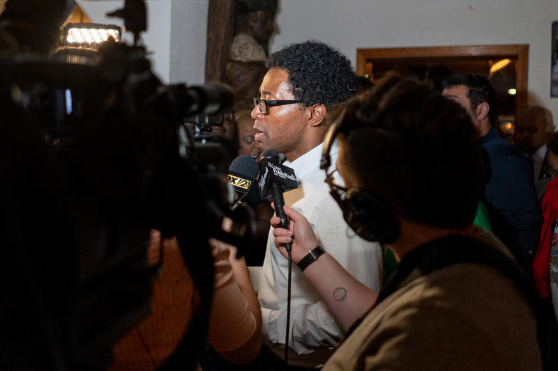 Reporters interview Wesley Bell in August, the night he won the primary election to be St. Louis County's next Prosecuting Attorney.