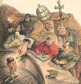 Edward Sorel's illustration from the cover of God's Jury