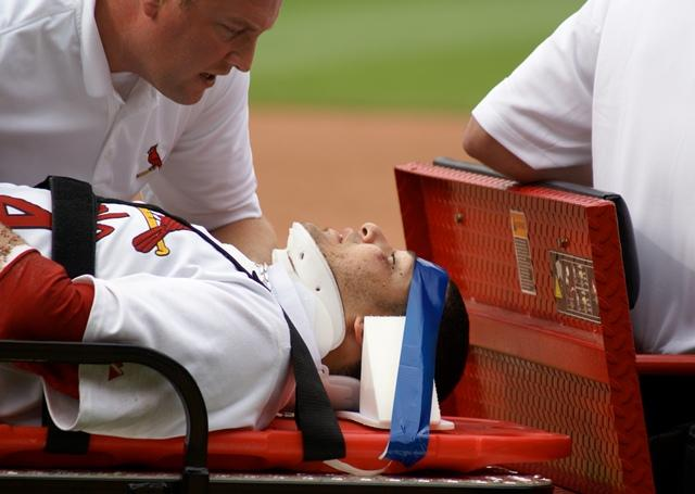 St. Louis Cardinals catcher Yadier Molina suffered a mild concussion on June 15, 2008.