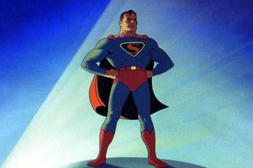 A still from the 1940s cartoon series Superman, which was produced by Fleischer Studios.