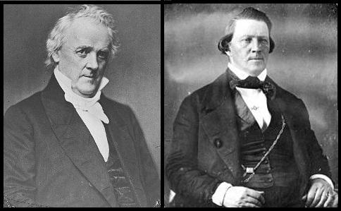 President James Buchanan (left) sent federal troops to replace Brigham Young (right) as governor of the Utah territory.