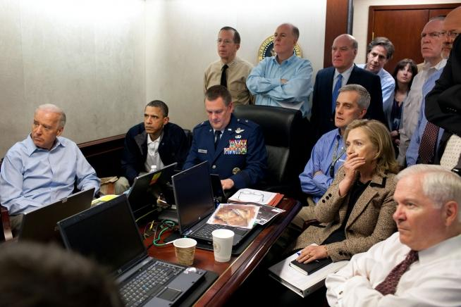 President Barack Obama, Vice President Joe Biden and members of the national security team follow the mission against Osama bin Laden. May 1, 2011.