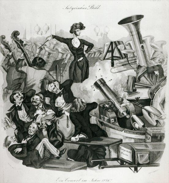 "Berlioz's ""Symphonie fantastique"" was first performed December 5, 1830 in Paris. This 1846 engraving suggests a German audience's reaction."