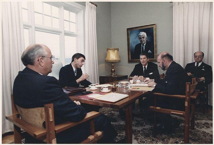 President Reagan and General Secretary Gorbachev meeting at Hofdi House during the Reykjavik Summit, October 11, 1986.