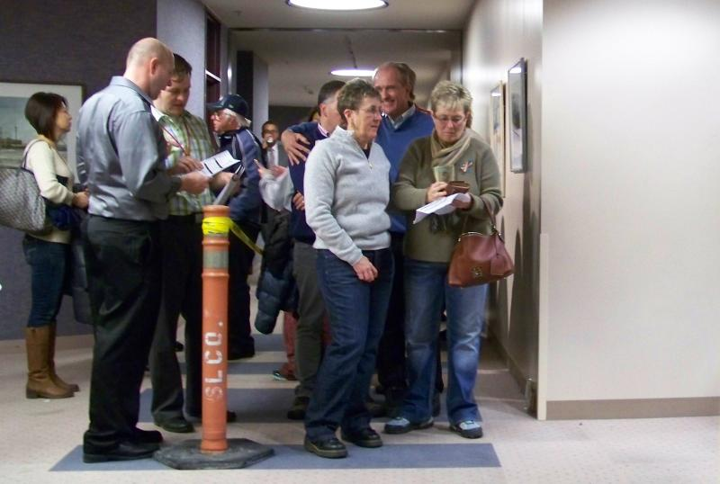 Same-sex couples wait in line to get married at the Salt Lake County Clerk's office.