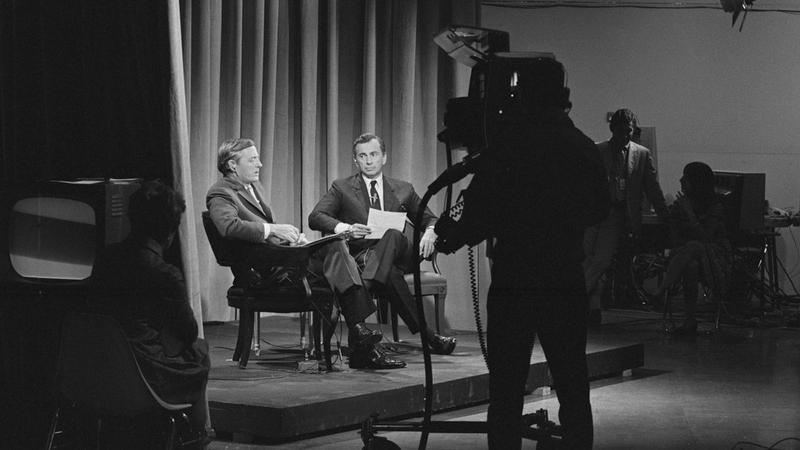 William F. Buckley Jr. (left) debates Gore Vidal on ABC in 1968.