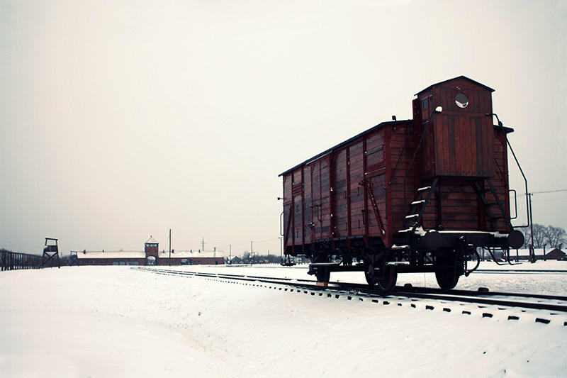 A train still sits on the tracks at the Auschwitz concentration camp in Poland