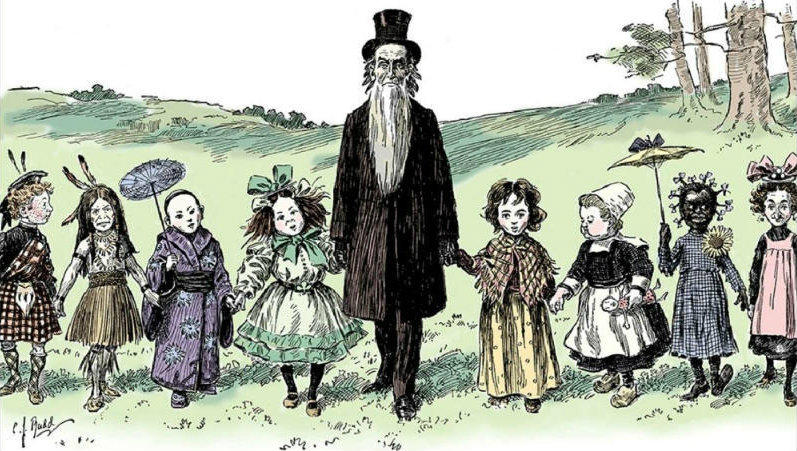 "A political cartoon by C. J. Rudd entitled, ""Mormon Elder Berry--out with his six year olds, who take after their mothers"" (1904)."
