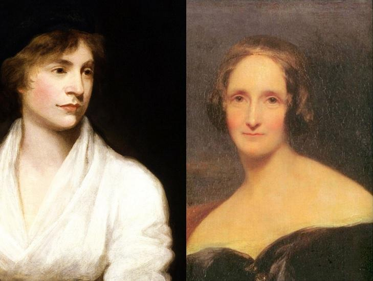 Mary Wollstonecraft (L) and Mary Shelley