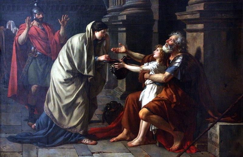 In Jacques-Louis David's 1781 painting, disgraced Byzantine general Belisarius receives alms from a peasant.