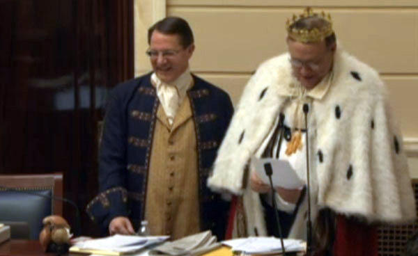"Rep. Ken Ivory (L) and Sen. Jim Dabakis present a resolution to honor the musical ""Hamilton."""