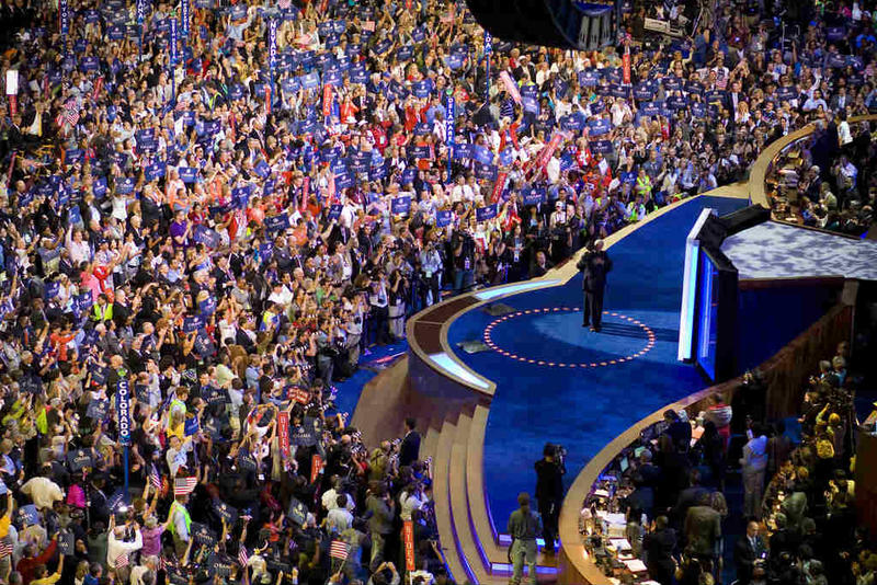 Presidential candidate Barack Obama and running mate Joe Biden on stage at the 2008 Democratic National Convention in Denver.
