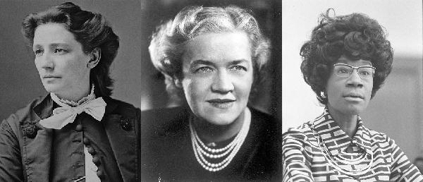 L-R, Victoria Woodhull, Margaret Chase Smith, Shirley Chisholm
