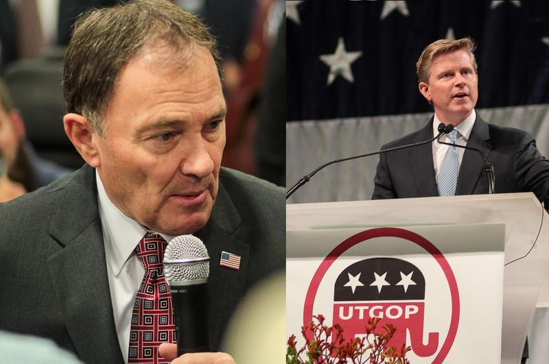 Gov. Gary Herbert (L) faces the primary against Republican challenger Jonathan Johnson